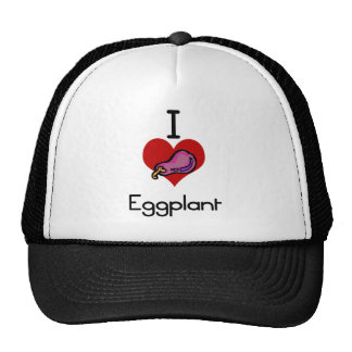 I love-heart eggplant trucker hat
