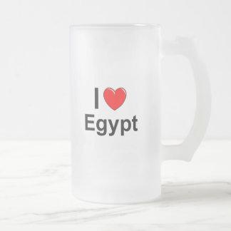 I Love Heart Egypt Frosted Glass Beer Mug