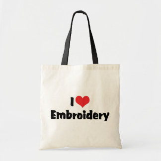 I Love Heart Embroidery - Needlepoint Sewing Budget Tote Bag