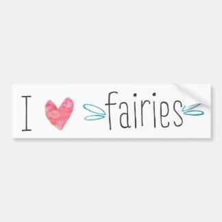 I love / heart Fairies Watercolor Car Sticker Bumper Sticker