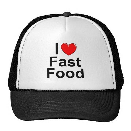 I Love (Heart) Fast Food Trucker Hats