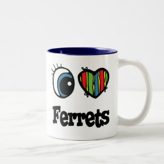 I Love (Heart) Ferrets Two-Tone Coffee Mug