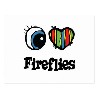 I Love (Heart) Fireflies Postcard