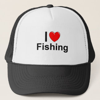 I Love Heart Fishing Trucker Hat