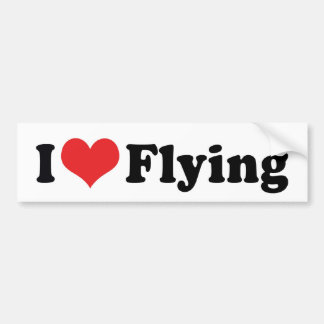 I Love Heart Flying - Airplane Lover Bumper Sticker