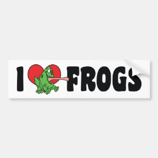 I Love Heart Frogs Bumper Sticker