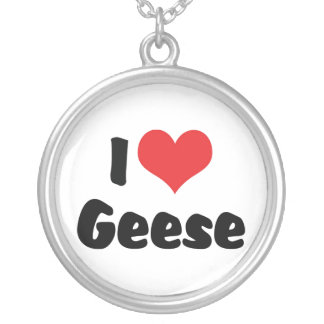 I Love Heart Geese - Goose Lover Silver Plated Necklace