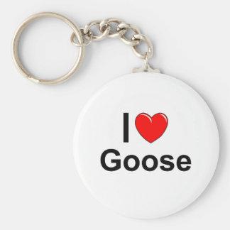 I Love Heart Goose Keychain
