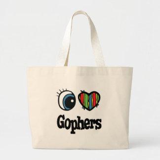 I Love (Heart) Gophers Large Tote Bag