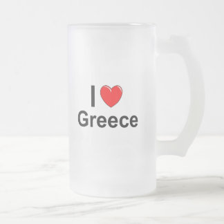 I Love Heart Greece Frosted Glass Beer Mug