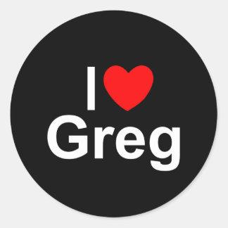I Love (Heart) Greg Classic Round Sticker