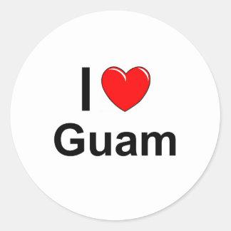 I Love Heart Guam Classic Round Sticker