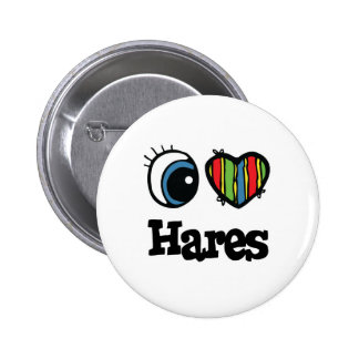 I Love (Heart) Hares 2 Inch Round Button