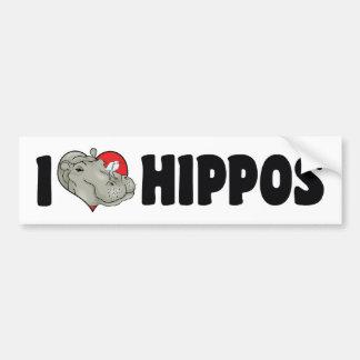 I Love Heart Hippos - Hippopotamus Lover Bumper Sticker