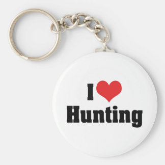 I Love Heart Hunting - Sport Hunter Basic Round Button Keychain