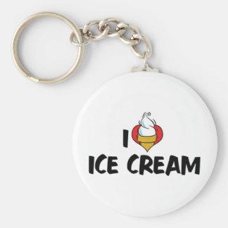 I Love Heart Ice Cream Basic Round Button Keychain