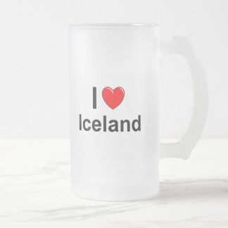 I Love Heart Iceland Frosted Glass Beer Mug