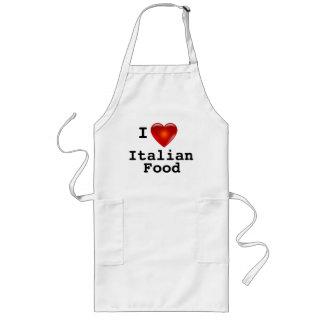 I Love Heart Italian Food Long Apron
