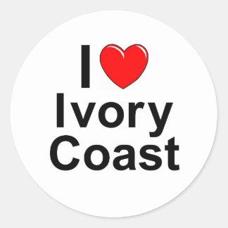 I Love Heart Ivory Coast Classic Round Sticker