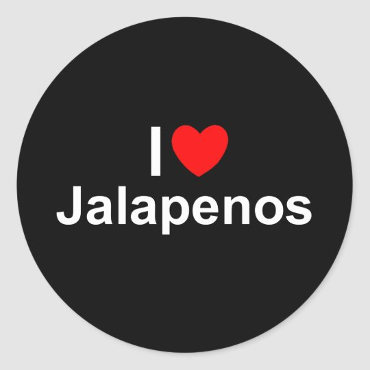 I Love (Heart) Jalapenos Classic Round Sticker