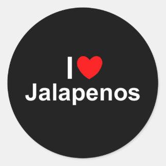 I Love (Heart) Jalapenos Round Sticker