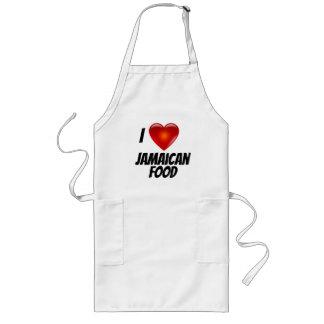 I Love Heart Jamaican Food Long Apron