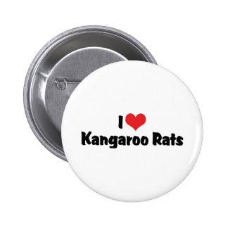 I Love Heart Kangaroo Rats 2 Inch Round Button