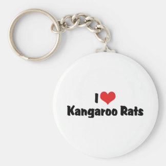 I Love Heart Kangaroo Rats Basic Round Button Keychain