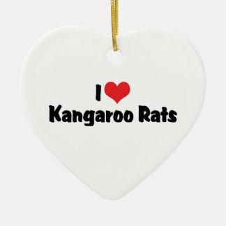 I Love Heart Kangaroo Rats Ceramic Heart Ornament