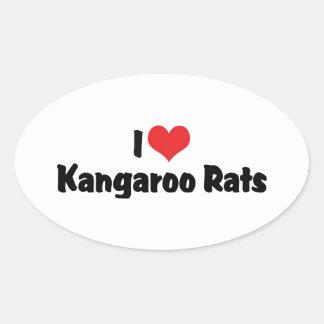 I Love Heart Kangaroo Rats Oval Sticker