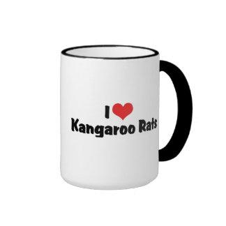 I Love Heart Kangaroo Rats Ringer Coffee Mug
