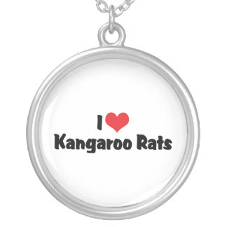 I Love Heart Kangaroo Rats Round Pendant Necklace