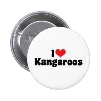 I Love Heart Kangaroos - Kangaroo Lover 2 Inch Round Button