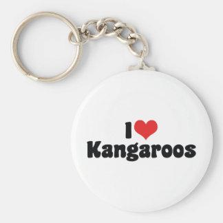 I Love Heart Kangaroos - Kangaroo Lover Basic Round Button Keychain