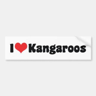I Love Heart Kangaroos - Kangaroo Lover Bumper Sticker