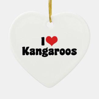 I Love Heart Kangaroos - Kangaroo Lover Ceramic Heart Ornament