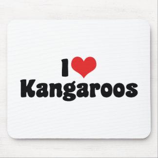 I Love Heart Kangaroos - Kangaroo Lover Mouse Pad
