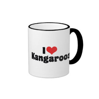 I Love Heart Kangaroos - Kangaroo Lover Ringer Coffee Mug