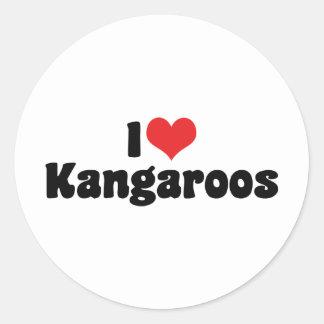 I Love Heart Kangaroos - Kangaroo Lover Round Sticker