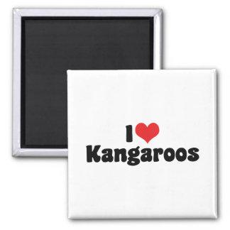 I Love Heart Kangaroos - Kangaroo Lover Square Magnet