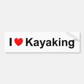I Love Heart Kayaking Bumper Sticker