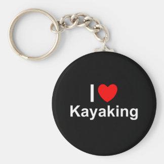 I Love Heart Kayaking Keychain