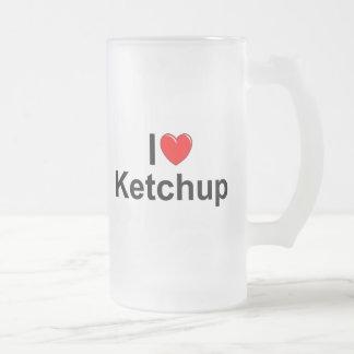 I Love (Heart) Ketchup 16 Oz Frosted Glass Beer Mug