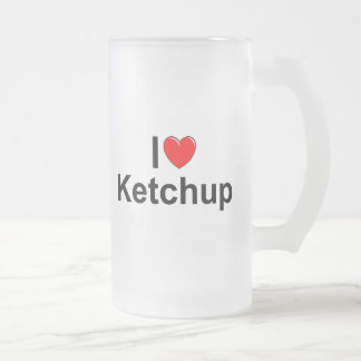 I Love (Heart) Ketchup Frosted Glass Beer Mug
