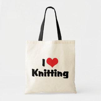 I Love Heart Knitting Tote Bag