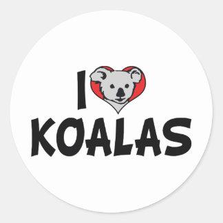 I Love Heart Koalas - Koala Bear Lovers Round Sticker