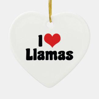 I Love Heart Llamas Ceramic Ornament