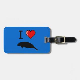 I Love (Heart) Manatees Luggage Tag
