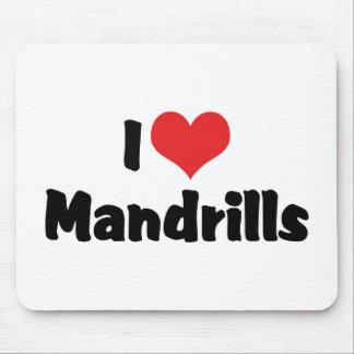 I Love Heart Mandrills Mouse Pad