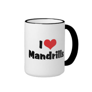 I Love Heart Mandrills Ringer Coffee Mug